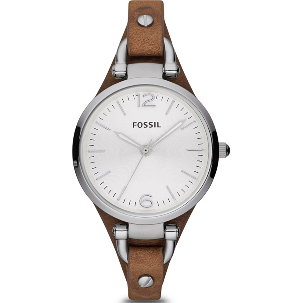 Georgia 32mm Reloj para dama plateado con correa de piel marrón