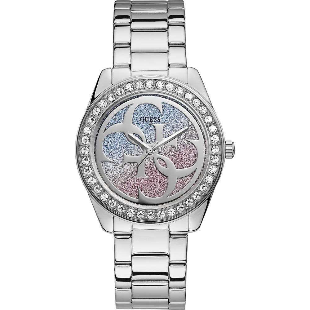 Detalles de Reloj Mujer Guess Glitter W0987L1 de Acero inoxidable Plateado