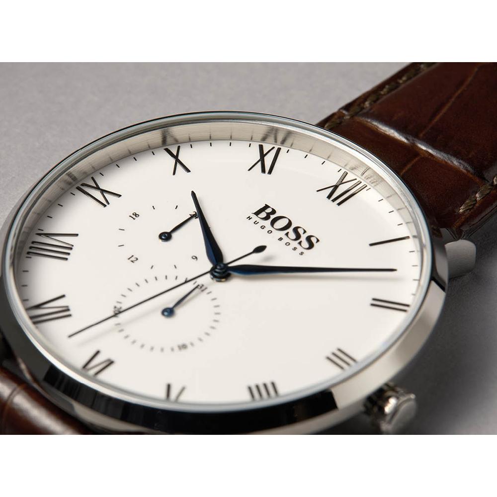 60999e198ce0 Reloj de cuarzo plateado marron con fecha Coleccion otoño-Invierno Hugo BOSS